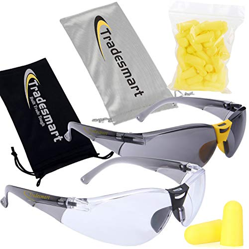 TRADESMART 2X Anti Fog Safety Glasses with 25PK NRR33 Earplugs - Clear & Tinted Protective Eyewear - UV400, Scratch Resistant & Antifog ()