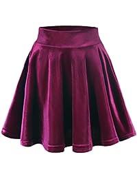 Women's Vintage Velvet Stretchy Mini Flared Skater Skirt
