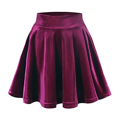 Urban CoCo Women's Vintage Velvet Stretchy Mini Flared Skater Skirt (L, Wine red)