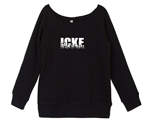 Pullover Herbst Winter Damen mit coolem Berlin Spruch - ICKE- vom Label SPREEklamotte / Sweatshirt Langarm / schulterfrei u-boot-ausschnitt Frauen, Sweater - schwarz L