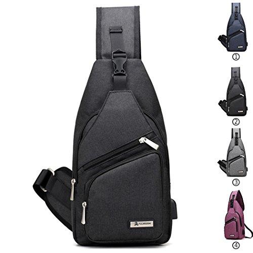 Coafit Shoulder Usb Chest Bag With Black Port Crossbody Casual q6n1qwaC