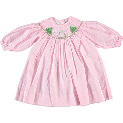 Infant Dresses Bishop (Carriage Boutique Baby Girl's Christmas Evergreen Treen Long Sleeve Pink Bishop Dress (9M))