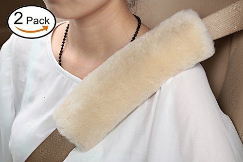 2pcs Authentic Sheepskin Auto Seat Belt Cover Shoulder Seatbelt Pad for Adults Youth Kids - Car, Truck, SUV, Airplane,Carmera Backpack Straps - Genuine High Density Soft Australian Wool by (Car Truck Seat Belt Cover)
