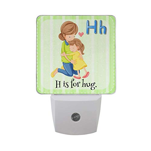 (xiaodengyeluwd 2 Pack Flash Card Alphabet H is for Hug Mom and Baby Happy Mother's Day On Green White Stripes Auto Sensor LED Dusk to Dawn Night Light Plug in Indoor for Adults)