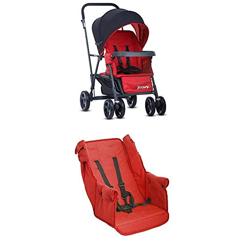 Joovy Caboose Too Graphite Stand-On Tandem Stroller, Red with Caboose Rear Seat, Red