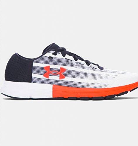 (Under Armour Men's UA Speedform Velociti White/Black/Phoenix Fire Athletic Shoe)