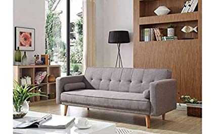 h4homedirect Scandinavian Sofa Bed Fabric 3 Seater Mid ...