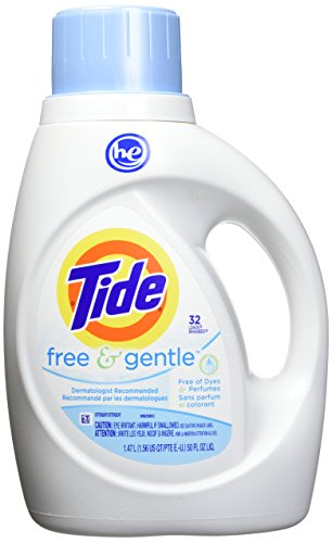 - Tide Free & Gentle HE Turbo Liquid Laundry Detergent, Pack of 2, Unscented, 1.47 L (32 Loads)