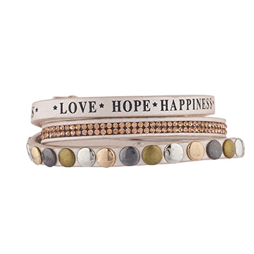 Lux Accessories Faux Tan Leather Love Hope Happiness Rhinestone Studded Bracelet ()