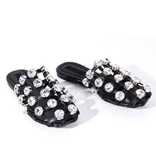 Brave Rosemary 2018 Runway Slides Flats Sandals Studded Leather Caged Slippers Summer Shoes Woman Flats Sandalias Mujer,Black,9 -