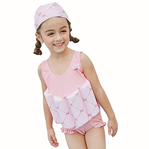 Swimwear Flotation (Kingswell Float Suit Toddler Swimsuit Kids Swim Training Aid Jacket Vest Suit with Removable Buoyancy Float for Toddler Girls)