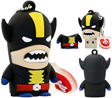 2.0 Wolverine X-Men スーパーヒーロー 64GB USBフラッシュサムドライブストレージデバイス キュート ノベルティ メモリースティック Uディスクカートゥーン