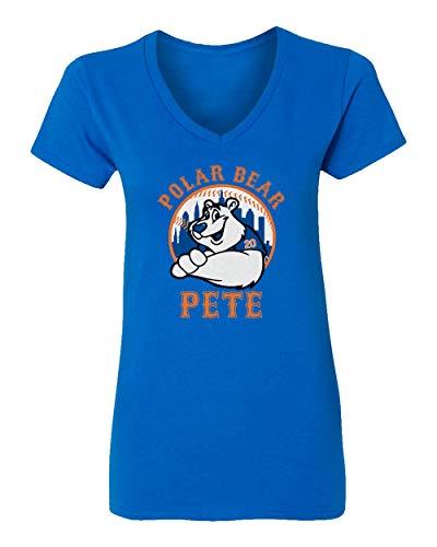 (SMARTZONE New York Fans Alonso Polar Bear Pete Baseball Womens Vneck T-Shirt (Royal, Large))