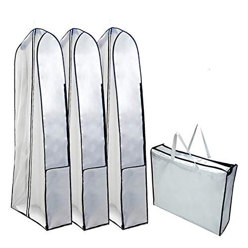 QEES X-Large Women's Gown Garment Bags, Heavy Duty Waterproof Dress Bag for Travel, Wedding Gown Travel & Storage Garment Bag, Storage Bag for Long Dresses, Lightweight JJZ335