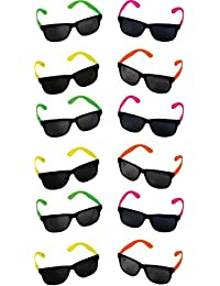 Neon 80's Style Party Sunglasses with Dark Lens - Kids / Teenage Pack (Pack of 12)