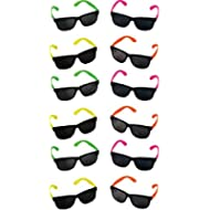 Rhode Island Novelty Neon 80's Style Party Sunglasses with Dark Lens - Kids / Teenage Pack (Pack...