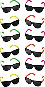 Rhode Island Novelty Neon 80's Style Party Sunglasses with Dark Lens (Pack of 12)