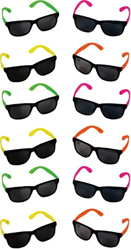 Rock Star Party Pack - Rhode Island Novelty Neon 80's Style Party Sunglasses with Dark Lens - Kids / Teenage Pack (Pack of 12)