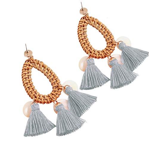 Bohemia Tassel Earrings Statement Handmade Dangle Ethnic Fringe Earrings Bamboo Weaving Geometric Square Sector Gifts for Women Girls (sky blue)