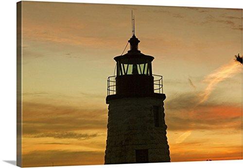 (Claudia Uripos Premium Thick-Wrap Canvas Wall Art Print entitled Rhode Island, Newport, Newport Harbor Light aka Goat Island Light)