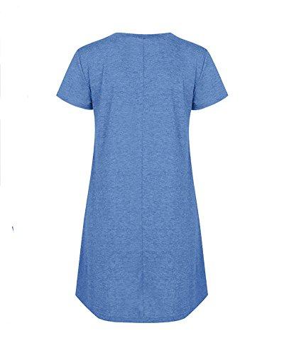 Maglia Corte al T Casual Lunga Camicia Estate Primavera A Vestito Donna Blu Ginocchio Line Top Shirt Maniche con Autunno wx0pqXC