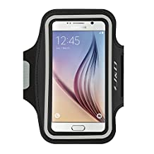 Galaxy S6 Armband, J&D Sports Armband for Samsung Galaxy S6, Key holder Slot, Perfect Earphone Connection while Workout Running (Black)