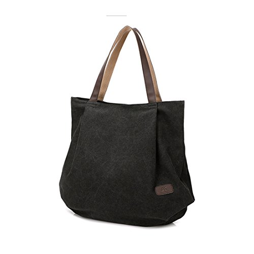 Shopping Shoulder Canvas For womens Work School handle Slouch Bag Bag Large Unyu Top Tote Black Handbags Hobo fq4AxZwT