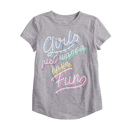 Jumping Beans Little Girls' 4-12 Girls JUST Wanna Have Fun TEE 7 Grey from Jumping Beans
