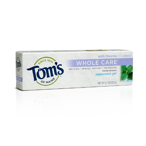 (Tom's of Maine Whole Care Flouride Toothpaste, Peppermint Gel, 4.7 Ounce)