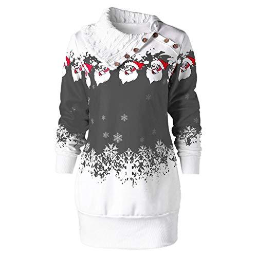 LATINDAY Womens Dress Plus Size Christmas Santa Claus Snowflake Print Dress Fashion Tunic Button Sweater Mini Dress Gray (Plus Dallas Lamps)