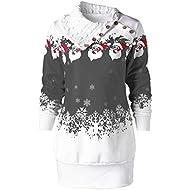 Gopeak Womens Winter Sweatshirt, Christmas Santa Snowflake Print Buttons Tunic Long Lapel Collar Top