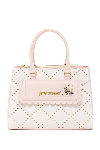 Betsey Johnson Laser Heart Cut Gold Background Scalloped Pkt Triple Compartment Blush Satchel