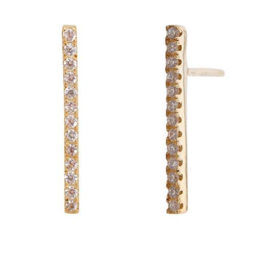 Humble Chic Pave Bar Stud Earrings - CZ Crystal Cubic Zirconia Mini Line Stick Ear Studs, Gold-Tone -