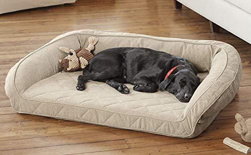 Orvis Memory Foam Bolster Dog Bed Medium Dogs Up To 18-27 Kg, Heathered Khaki,