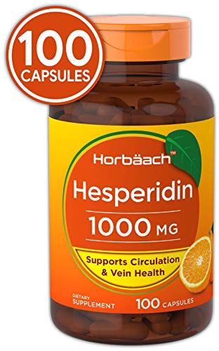 Horbaach Hesperidin 1000mg 100 Capsules | Non-GMO and Gluten Free | Supports Circulation and Vein Health