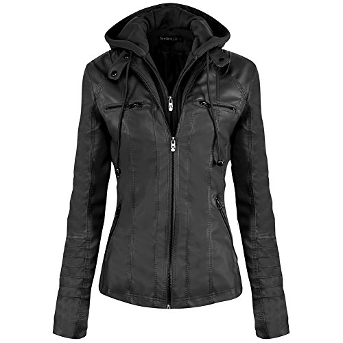Hooded Leather Motorcycle Jacket (Newbestyle Women Spring and Autumn Hooded Faux Leather Jacket Hat Detachable Zipper jacket Women Motorcyle Jacket,Large,Black)