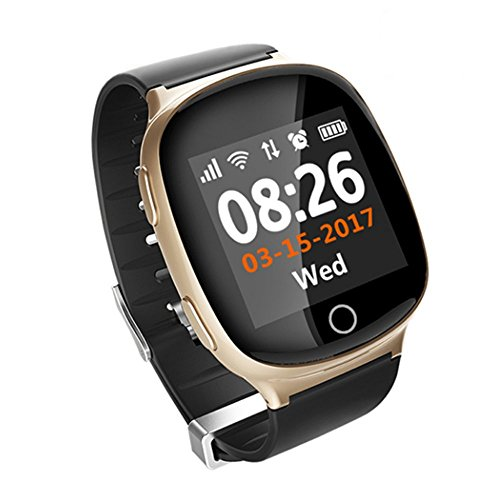 Elderly Heart rate monitor Smart Watch,AMTERBEST GPS PositioningMedicine Reminder, Sports Reminder,Sedentary Reminder,Health,SOS GPS LBS WIFI Tracker Watches Compatible with Android and iPhone (Gold)