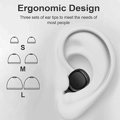 Wireless Earbuds, Arespark Bluetooth 5.0 Headphones True Wireless in-Ear Earbuds 30H Playtime Super Bass HiFi Stereo Sound Bluetooth Earphones with Built-in Mic Portable Charging Case (Black AP-05)