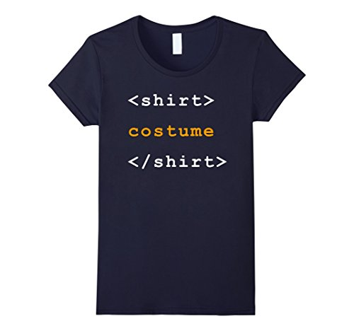 Women's HTML Tags Clever Halloween Costume Funny Tshirt Medium Navy ()