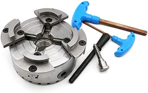 SNOWINSPRING 4Inch Self-Centering 4 Jaws Wood Lathe Chuck Woodworking Scroll Chuck