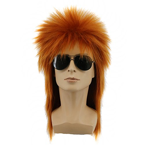 Yuehong Heavy Metal Halloween 70s 80s Costumes For Men Women Wigs Spiked Rocker Wig Mullet Style (Brown) ()