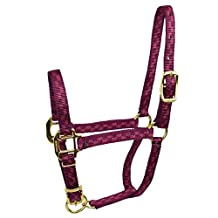 Hamilton Adjustable Foal or Average Miniature Horse Quality Halter for Horse, 3/4-Inch, Wine Checkerboard