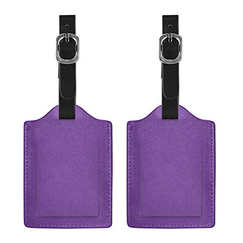 WIRESTER 2 Piece - Leather Luggage Bag Tag with Privacy Label Flap for Travel Suitcase Baggage Luggage, Solid Orchid Purple
