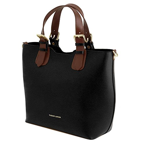 Leather TL141696 main Noir Sacs Bag en à cuir Tuscany TL Sdqzx1q
