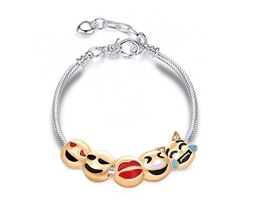 (Cute Emoji Charm Beads DIY Bracelet Adjustable Length Interchangeable Bracelet for Kids Teen Girls Women- Heart Enamel Dog Puppy Kitten Kiss Lips Faces Valentines Christmas Birthday Jewelry Gifts)