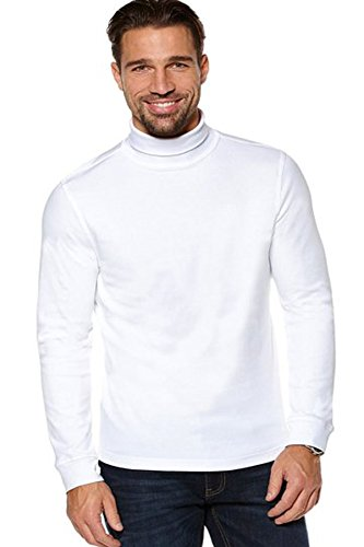 Elegance Men`s White Slim Fit Soft Cotton Pullover Light Turtleneck/Rollneck (XXL, WHITE)