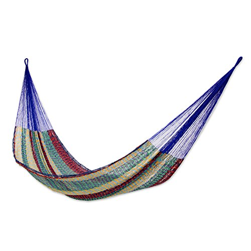 NOVICA Green and Purple Striped Hand Woven Nylon Mayan 2 Person XL Rope Hammock, Green Vineyard Double
