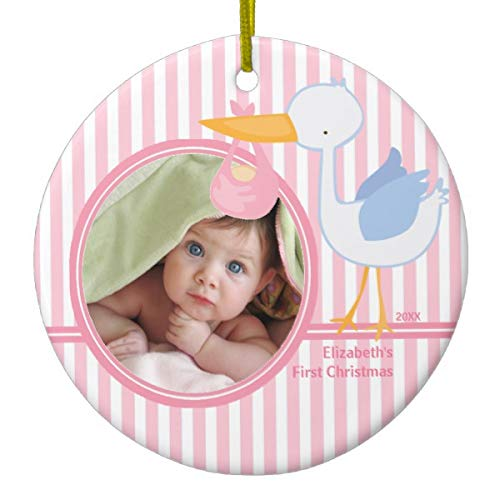 Lplpol Babys First Christmas Photo Xmas Trees Home Decorated Ceramic Ornaments Porcelain Ornament Personalize Souvenir Stork Girl