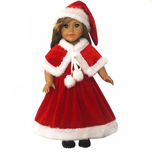 [Ebuddy 3pc Christmas Red Color Including Hat Shawl Dresses Outsuits Fits 18 Inch Girl Dolls] (Doll Halloween Outfit)