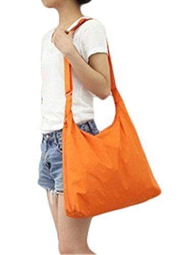 Fortuning's JDS® Bolsos de Hombro de Nylon Impermeables Portables de la Capacidad Grande Plegable del Color Puro de Las Mujeres Crossbody naranja